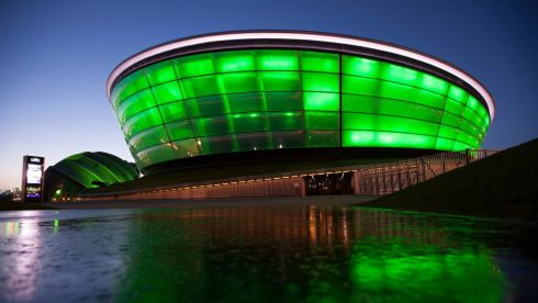 Glasgow's SSE Hydro Arena and Armadillo in Scotland illuminated green as they are among more than 100 international landmarks turning green to mark St Patrick's Day. Photograph: PA