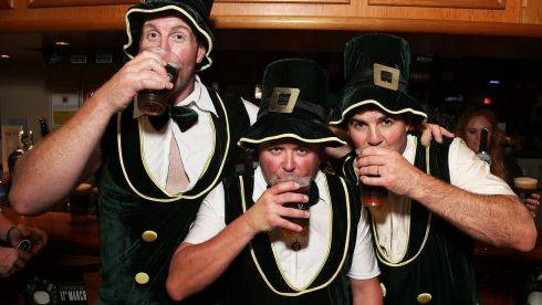 Patrons celebrate St Patrick's Day at the Orient Hotel in Sydney, Australia. Photograph: Brendon Thorne/Getty Images