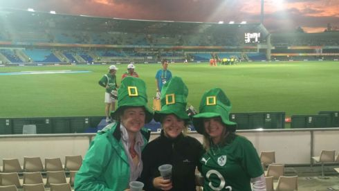 Joining in the festivities in Hobart, Tasmania, Australia were, from left, Moira Ryan (Tipperary/Sydney), Olivan  Vaughan (Clare/Melbourne) & Mary-Rose Flanagan(Tipperary/Sydney) at the recent Irish cricket win over Zimbabwe.