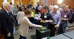 Members voting at a meeting of the Convention on the Constitution in Malahide, Co Dublin in 2013. Photograph: Eric Luke