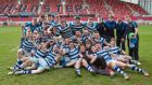 The Rockwell College squad celebrate their Munster Schools Rugby Senior Cup Final victory over Ardscoil Rís at Thomond Park. Photograph:    Morgan Treacy/Inpho