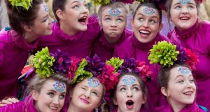 Bright Light Studio Fermoy Dance School with Luxe dancing at the St Patrick's Day parade in Cork City. Photograph: Clare Keogh