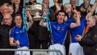 St Patrick's, Cavan joint captains Cian McManus and Pierce Smith lift the MacRory Cup at the Athletic Grounds, Armagh. Photograph: Inpho
