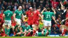 Referee Wayne Barnes awards a controversial penalty to Wales during the final moments of the Six Nations match at the Millennium Stadium in Cardiff. Photograph: Cathal Noonan/Inpho