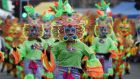 Members of Filipino Cork Community dancing at the St Patrick's Day parade  in Cork City. Photograph: Clare Keogh