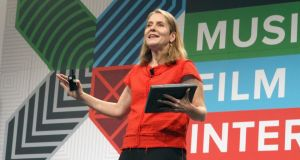 Paola Antonelli, senior curator of The Museum of Modern Art, gives a keynote address in Austin. Photograph: Travis P Ball/Getty Images for SXSW