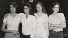 Taken in 1975, this is the first of 40 years worth of portraits of the Brown sisters, taken by Nicholas Nixon. They were photographed in this order every year over four decades. From left: Heather (then 23), Mimi (15), Bebe (25), and Laurie   (21)