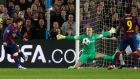 Manchester City's Joe Hart saves from Barcelona's Lionel Messi. Photograph: Carl Recine/Reuters
