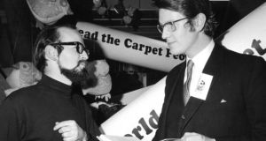 Terry Pratchett with his publisher Colin Smythe at the launch in 1971 of his first book, The Carpet People, in Heal's department store, London