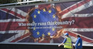 In or out?: a UK Independence Party European elections poster. Photograph: Oli Scarff/Getty