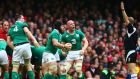 Ireland captain Paul O'Connell and Seán O'Brien react to a decision by referee Wayne Barnes during the Six Nations defeat to Wales at the Millennium Stadium. Photograph: Cathal Noonan/Inpho