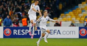 Lukasz Teodorczyk (right) celebrates scoring for Dynamo Kiev in the Europa League second-leg match against Everton at the NSC Olympic Stadium in Kiev. Photograph: Peter Cziborra/Action Images via Reuters