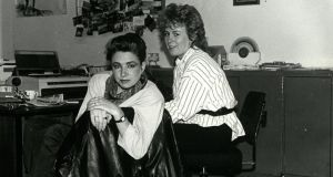 Administrative staffers Michelle and Annette in the union offices in the 1980s