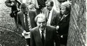 Charles Haughey at the opening of student accommodation on campus in 1988