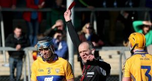 Brendan Bugler has had the red card he received during Clare's win over Dublin upheld and will serve a two match suspension. Photograph: Inpho