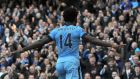 Manchester City's  Wilfried Bony celebrates scoring the opening goal. Photograph: Getty Images