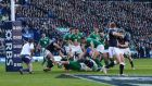 Ireland's Sean O'Brien scores the decisive  fourth try against Scotland. Billy Stickland/Inpho