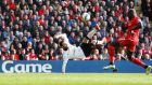 Juan Mata's stunning scissor kick put Manchester United two ahead in their 2-1 win over Liverpool at Anfield. Photograph: Reuters