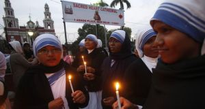 Nuns hold vigils to condemn the gang-rape of an elderly nun in Ranaghat, India, on March 14th, allegedly by Hindu extremists. Photograph: Rajat Gupta/EPA
