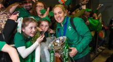 Ireland captain Niamh Briggs greets supporters on her side's triumphant return to Dublin airport following their Six Nations win. Photograph: Inpho
