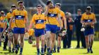 The Clare players return to the dressing rooms after the defeat to Kilkenny in Nowlan Park last weekend. Photograph: Cathal Noonan/Inpho