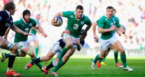 Ireland centre Robbie Henshaw is one of three Irish players nominated for the RBS Six Nations player of the tournament award. Photograph: Stu Forster/Getty Images