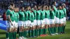 Ireland players line up for the anthems ahead of the Six Nations international rugby union match between Scotland and Ireland - Six have been selected for our Six Nations team of the tournament. Photograph: Ian  MacNicol/Getty Images