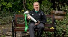 Niamh Briggs with the Six Nations trophy Photograph: Morgan Treacy/Inpho
