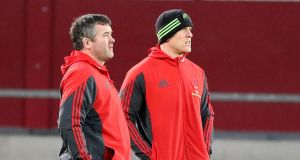 "Munster head coach Anthony Foley with Paul O'Connell:  ""I know he's contracted up to the end of next season so that's the way I view it."" Photograph: Dan Sheridan/Inpho."