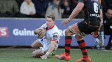 This try against the Dragons was one of five in Craig Gilroy's last four games for Ulster. Photograph: Ian Cook/Inpho.