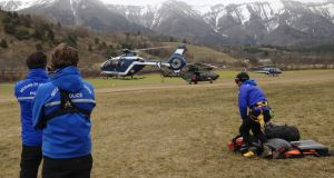 Gendarmerie and French mountain rescue teams arrive near the site of the Germanwings plane crash in the French Alps. Photograph: by Patrick Aventurier/Getty Images