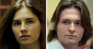 Raffaele Sollecito (right) and Amanda Knox. Cassation judges can either uphold the convictions if they find the appeals trial was properly conducted or order yet another appellate trial. Photograph: Filippo Monteforte/Tiziana Fabifilippo/AFP/Getty Images