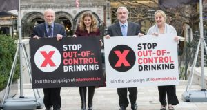 Fergus Finlay, left chairman of the Stop Out of Control Drinking campaign, clinical psychotherapist Joanna Fortune, LRC chief executive Kieran Mulvey and Aine Lynch of the National Parents Council at the launch of the campaign. Photograph: Brenda Fitzsimons/The Irish Times