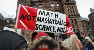 Protesters rally against Ontario's new sex education curriculum. Photograph: Andrew Francis Wallace/Toronto Star via Getty Images
