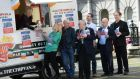 Margaret Hayes, city librarian, in a chip van outside the Rotunda Hospital serving from left; Angela Cassidy, Roddy Doyle, Lord Mayor of Dublin Christy Burke, Philip Martin, Peter Sheridan and Niall Stokes, during the launch of Dublin: One City One Book, 2015 programme. This year's book  is Roddy Doyle's Barrytown Trilogy. Photograph: Dara Mac Dónaill