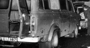 File photo dated January 5th, 1976 of the bullet riddled minibus where 10 Protestant textile workers were shot shot dead in an IRA attack near the Co Armagh village of Kingsmill in 1976. Photograph: PA