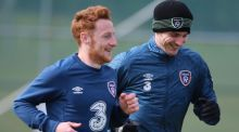 Republic of Ireland internationals   Stephen Quinn and Kevin Doyle during  training  at Gannon Park in  Malahide. Photograph:  Niall Carson/PA