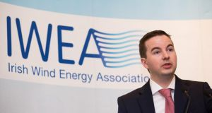 Irish Wind Energy Association chief executive Kenneth Matthews speaking atthe association's annual conference. Photograph: Patrick Bolger