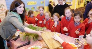 Lily Higgins, with a little help, launches Sow & Grow. Photograph:  Leon Farrell Photocall Ireland