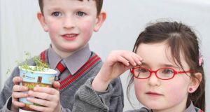 Schoolchildren  help launch Sow & Grow. Photograph:  Leon Farrell Photocall Ireland