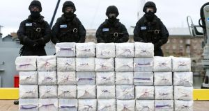 Irish Navy Service personnel with the seizure of cocaine in September 2014. File photograph: Brian Lawless/PA Wire