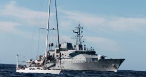 Irish Naval Service vessel the  LE Niamh  with detained  yacht the Makayabella on September 24th, 2014, off West Cork. File photograph: Defence Forces Ireland/PA Wire