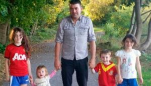 Sean Rowlette from Dromore West in Sligo with his four children Leanne (8), Abbie (6), Joseph (3) and baby Sally Jnr. His wife Sally died at Sligo General Hospital just hours after giving birth to her fourth child. Photograph supplied by family.
