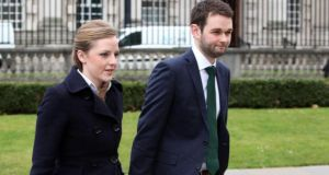 Daniel and Amy McArthur of Ashers Bakery arrive at Belfast County Court. Photograph: Stephen Kilkenny/PA Wire