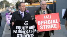 Stormy waters: TUI president Gerry Quinn and ASTI president Philip Irwin at a picket over planned junior cycle reforms. Photograph: Dara Mac Dónaill