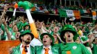 Ireland fans at the Euro 2012 game against Croatia in Poznan. Photograph:  James Crombie/Inpho
