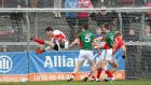 Mayo goalkeeper David Clarke is beaten by Brian Hurley's late fisted goal as Cork claimed victory in the Allianz Football League Division One game at  Páirc Uí Rinn. Photograph: James Crombie/Inpho