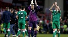 Shay Given and his team-mates salute the crowd at the end of the game at the Aviva Stadium. Photo: Donall Farmer/Inpho