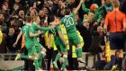 Shane Long celebrates after scoring a late equaliser against Poland. Photograph: Morgan Treacy/INPHO