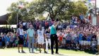 Jimmy Walker waves to fans after winning the Valero Texas Open  at TPC San Antonio. Photograph: Christian Petersen/Getty Images